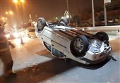 واژگونی تندر در بزرگراه شهید لشگری + تصاویر