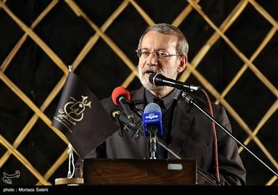 علی لاریجانی رئیس مجلس شورای اسلامی در مراسم گرامیداشت شهدای مدافع حرم