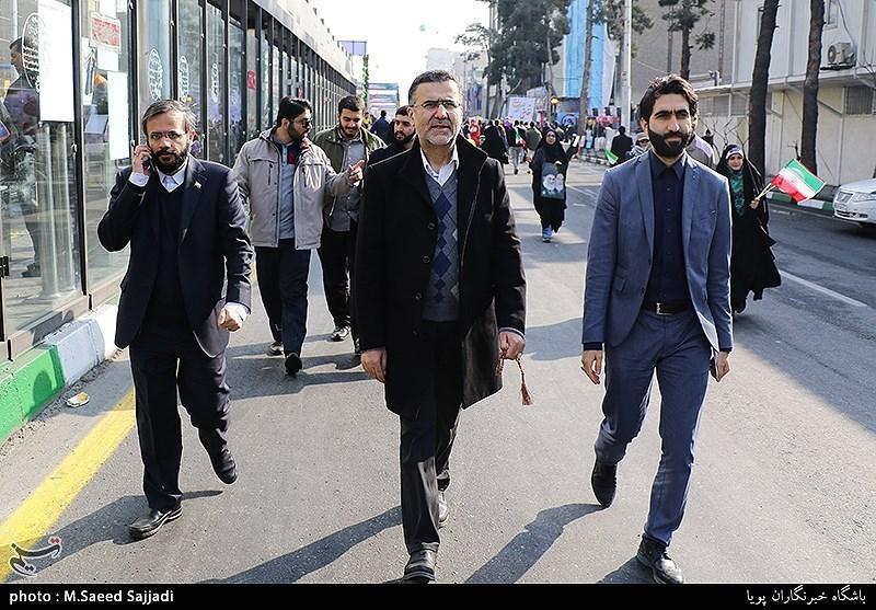 حجتالله ایوبی در راهپیمایی 22 بهمن - تهران