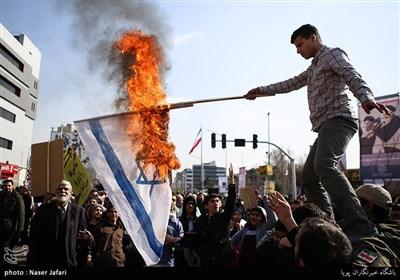 آتش زدن پرچم اسرائیل در راهپیمایی 22 بهمن در تهران
