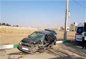 متلاشی شدن پراید پس از تصادف شدید با وانت + تصاویر