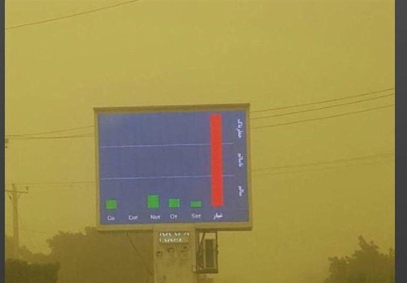 عکس| تابلوی هشدار آلودگی هوا اهواز دیگر جا ندارد!