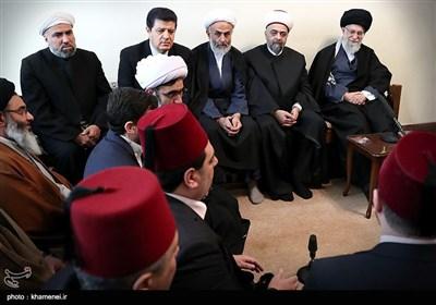 بالصور.. قائد الثورة الإسلامیة یستقبل وزیر الاوقاف السوری والوفد المرافق له