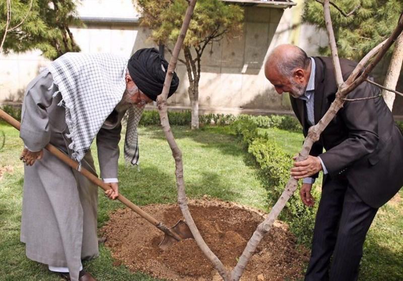 الإمام الخامنئی یغرس شتلتین للفاکهة بمناسبة یوم الشجرة
