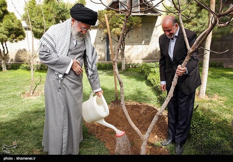 Ayatollah Khamenei Plants Saplings on Tree Plantation Day