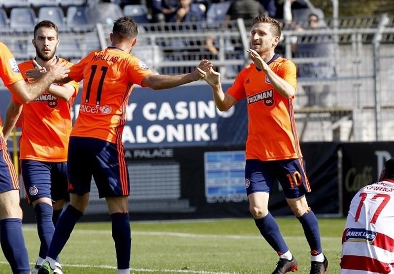 سوپر لیگ یونان   پیروزی پرگل المپیاکوس در خانه تیم قعرجدولی