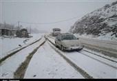 مازندران| برف محورهای مواصلاتی استان مازندران را سفیدپوش کرد