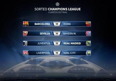 برنامه بازی های مرحله یک چهارم نهایی لیگ قهرمانان اروپا مشخص شد