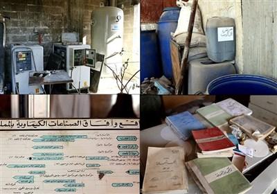 گزارش اختصاصی تسنیم از کارگاه شیمیایی تروریست ها در غوطه؛ رد پای عربستان در ساخت سلاح های کشتارجمعی+تصاویر