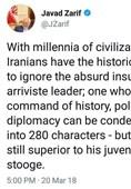 توییت ظریف در واکنش به اظهارات توهینآمیز ترامپ