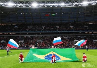 رویارویی روسیه و برزیل در ورزشگاه لوژنیکی مسکو به روایت تصویر