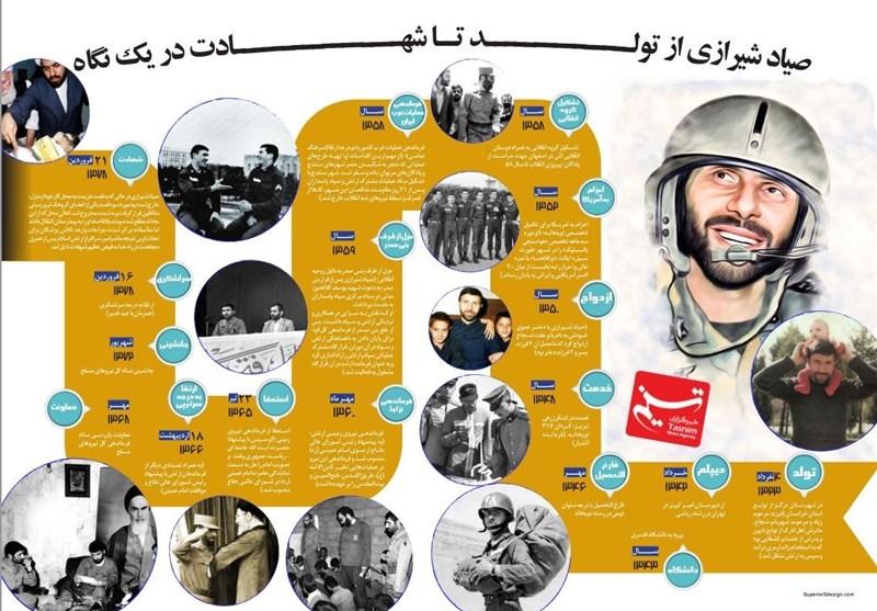 اینفوگرافی|سپهبد صیاد شیرازی از ولادت تا شهادت