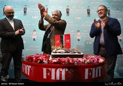 رضا میرکریمی، دبیر جشنواره جهانی فیلم فجر و رضا کیانیان در افتتاحیه سی و ششمین جشنواره جهانی فیلم فجر