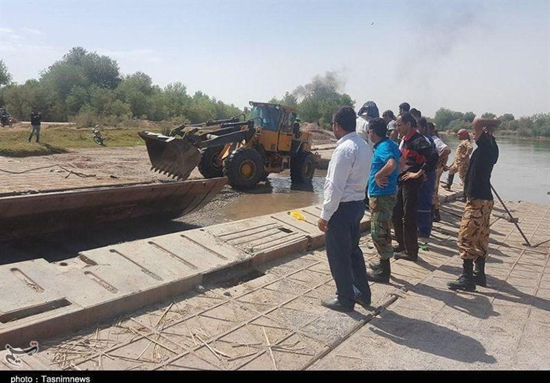 خوزستان| پل شناور فتحالمبین شوش به همت ارتش بر روی رودخانه کرخه نصب شد