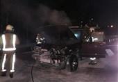 آتش گرفتن پاترول در آزادراه خلیجفارس + تصاویر