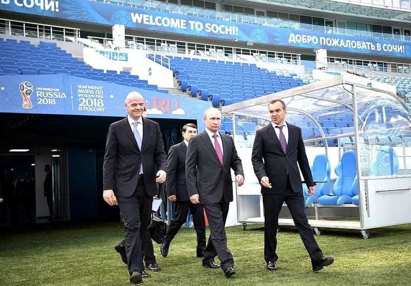 بازدید پوتین و اینفانتینو از ورزشگاه جام جهانی 2018