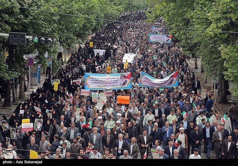 مسیرات حاشدة فی انحاء ایران تندیداً بالسیاسات الامریکیة+ صور