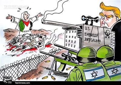 کاریکاتور/ آمریکا شریک جنایاتصهیونیستها در فلسطین