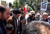روز قدس پرشور| حضور حجتالاسلام مجتبی خامنهای در راهپیمایی روز قدس + عکس