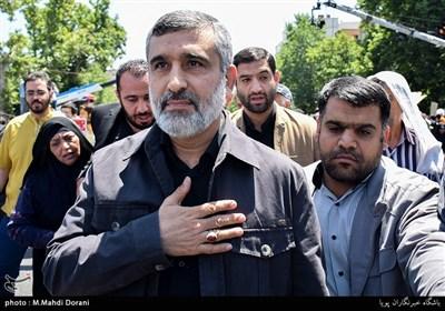 سردار حاجیزاده فرمانده هوافضای سپاه در راهپیمایی روز قدس