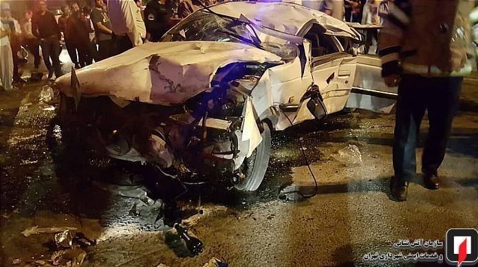عکس تصادف دلخراش حوادث تهران چپ کردن خودرو تصادف در تهران تصادف پژو اخبار تهران اخبار تصادف