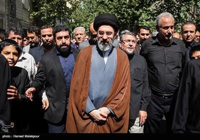 حجتالاسلام سیدمجتبی خامنهای در مراسم تشییع پیکر حجتالاسلام سیدعلیاکبر حسینی استاد اخلاق