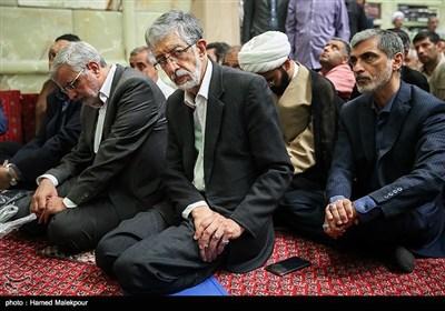 غلامعلی حدادعادل در مراسم تشییع پیکر حجتالاسلام سیدعلیاکبر حسینی استاد اخلاق