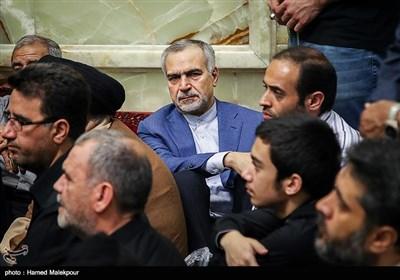 حسین فریدون در مراسم تشییع پیکر حجتالاسلام سیدعلیاکبر حسینی استاد اخلاق