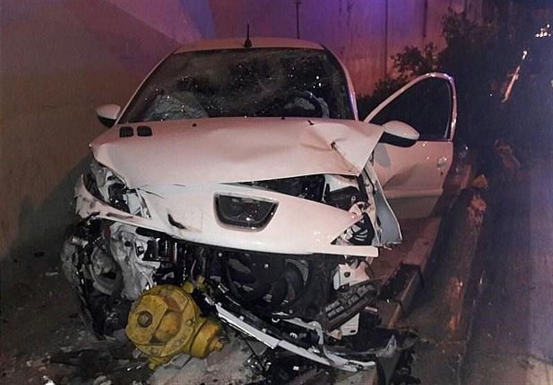 3 مصدوم بر اثر تصادف شدید پژو 207 با شیر آتشنشانی + تصاویر