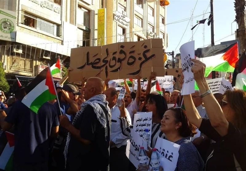 تظاهرات گسترده مردم کرانه باختری در حمایت از اهالی غزه + تصاویر