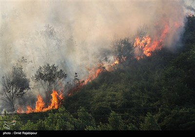 Firefighters Battle Wildfire in Iran's Northern Gilan Province
