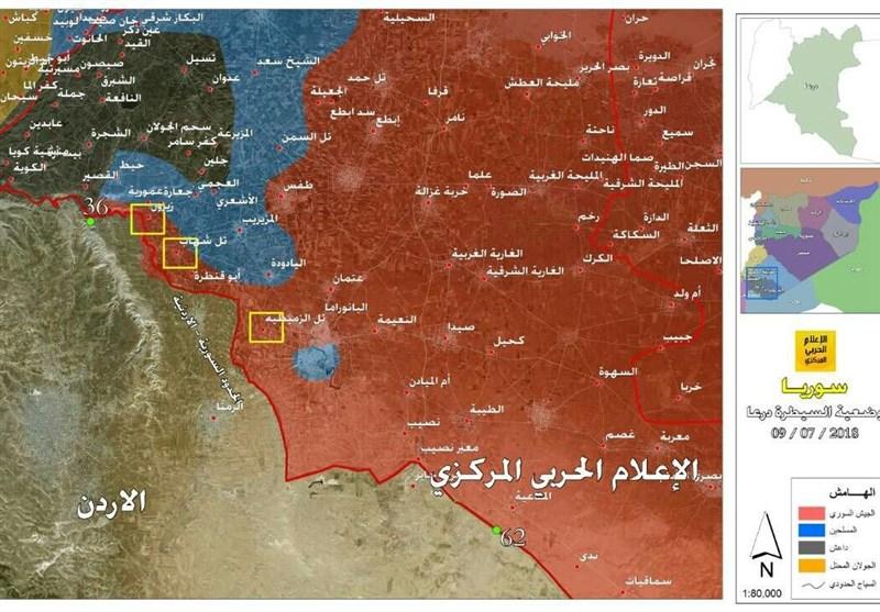 وضعیة سیطرة الجیش السوری عند الحدود السوریة الاردنیة