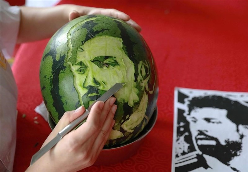 Faces of Russia's World Cup Stars on Watermelon
