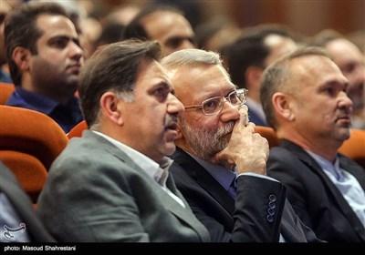 علی لاریجانی و عباس آخوندی در بیست و یکمین اجلاس سازمان نظام مهندسی ساختمان