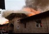 آتش کل مسجد جامع ساری را فرا گرفت/سرایت حریق به مغازههای اطراف مسجد+تصاویر