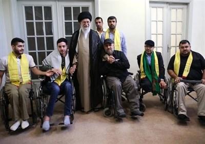 لحظاتی از دیدار جانبازان حزب الله لبنان با امام خامنه ای+فیلم
