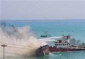 بوشهر  شناورهای آتشخوار از گسترش آتشسوزی در اسکله کنگان جلوگیری کردند