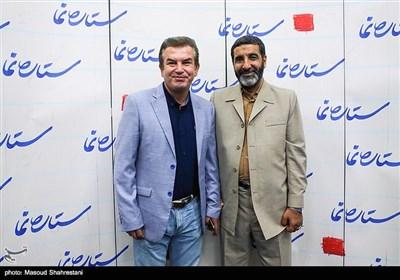 حاج حسین یکتا وحمید استیلی در مرا سم رونمایی از کتاب(مربع های قرمز)