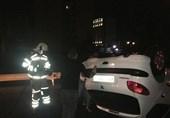 واژگونی بامدادی پژو 206 در بزرگراه امام علی + تصاویر