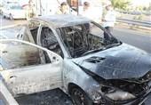 زبانههای آتش پژو 206 را در بزرگراه آزادگان سوزاند + تصاویر