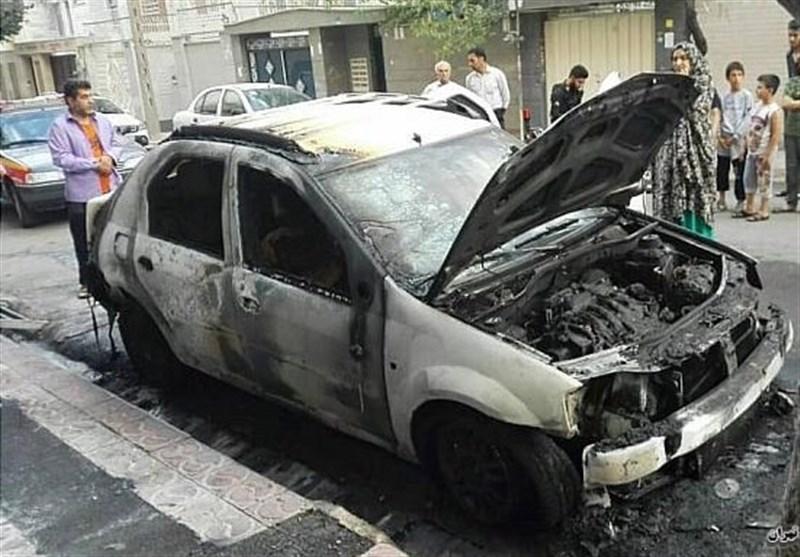 آتش گرفتن ناگهانی خودروی L90 + تصاویر