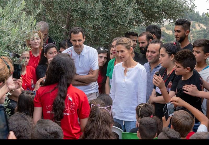 دیدار بشار و اسماء اسد با مجروحان و فرزندان شهدای سوری+ تصاویر