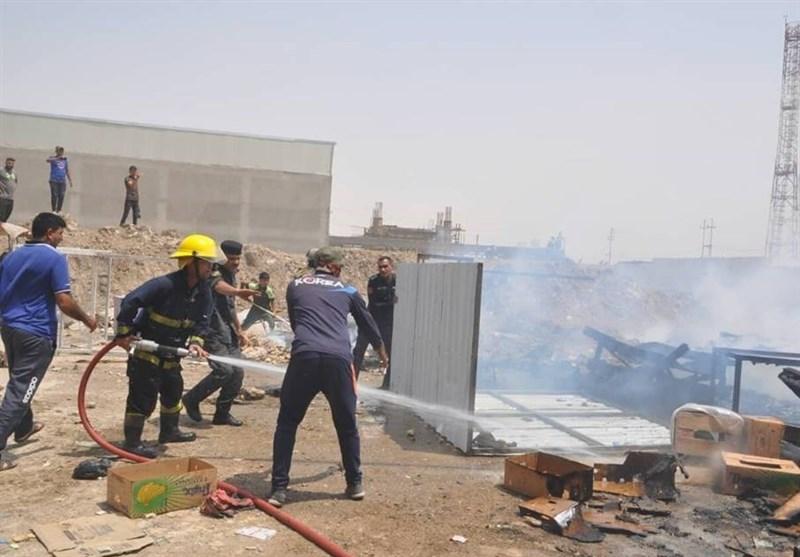 العراق: حریق سوق بیع الملابس والخضار فی واسط + صور