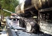 آتش گرفتن تانکر حامل بنزین در بزرگراه آوینی + تصاویر