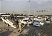واژگونی پراید پس از تصادف شدید با دو خودرو + تصاویر