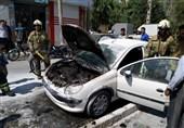 آتش گرفتن پژو 206 به خاطر سیمکشی غیراصولی + تصاویر