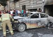 آتش گرفتن مگان و پژو پارس پارک شده در پارکینگ + تصاویر