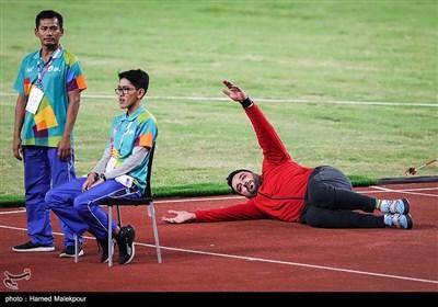 تمرینات احسان حدادی در مسابقات پرتاب دیسک - بازیهای آسیایی 2018