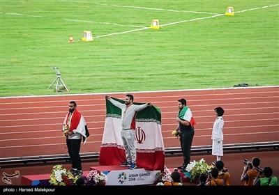 مراسم اهدای مدال طلای احسان حدادی قهرمان مسابقات پرتاب دیسک - بازیهای آسیایی 2018