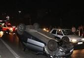 واژگونی خودرو 206 در پی تصادف با 206 + تصاویر